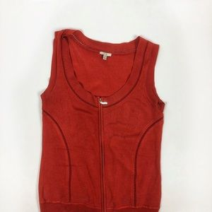 Cache - Deep orange vest/sweater tank w/zip up